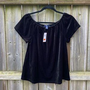GAP NEW Black Velvet Off The Shoulder Top